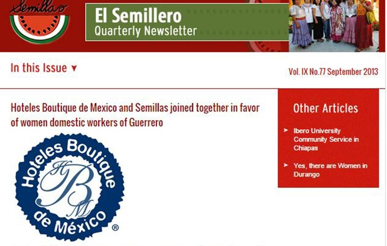 Hoteles Boutique de Mexico and Semillas joined together in favor of women domestic workers of Guerrero