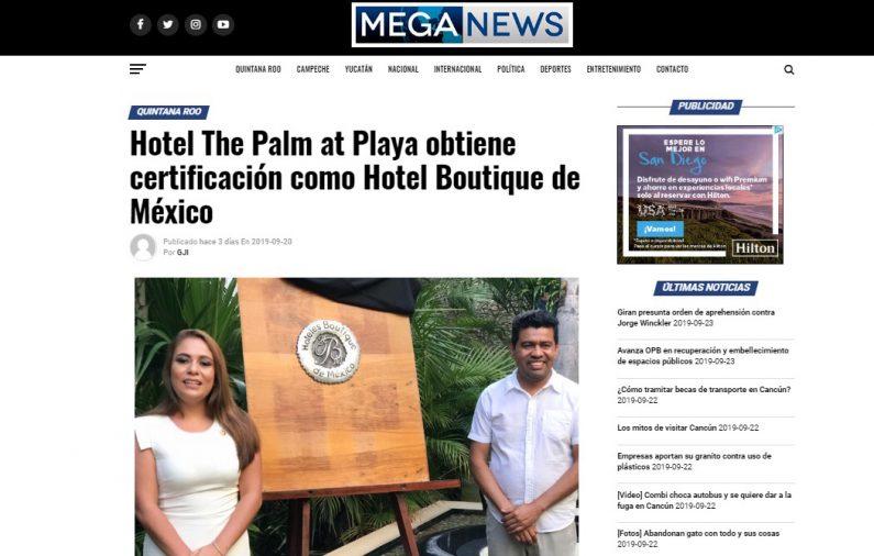 Hotel The Palm at Playa obtiene certificación como Hotel Boutique de México