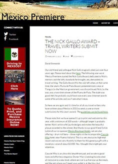 THE NICK GALLO AWARD – TRAVEL WRITERS SUBMIT NOW