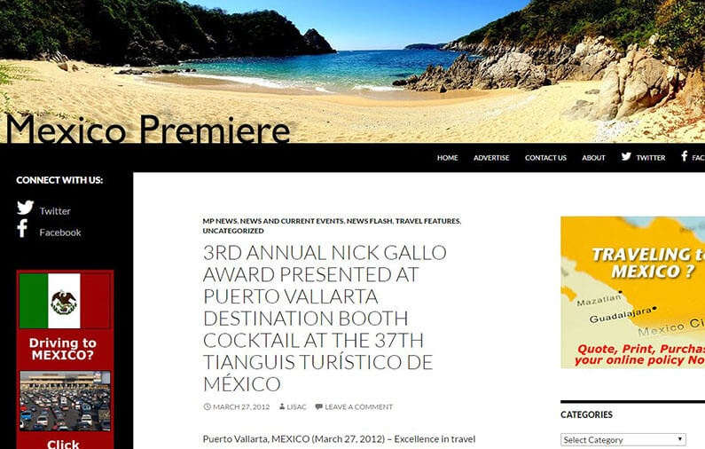 3RD ANNUAL NICK GALLO AWARD PRESENTED AT PUERTO VALLARTA DESTINATION BOOTH COCKTAIL AT THE 37TH TIANGUIS TURÍSTICO DE MÉXICO
