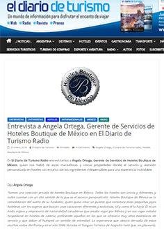 Entrevista a Angela Ortega, Gerente de Servicios de Hoteles Boutique de México en El Diario de Turismo Radio